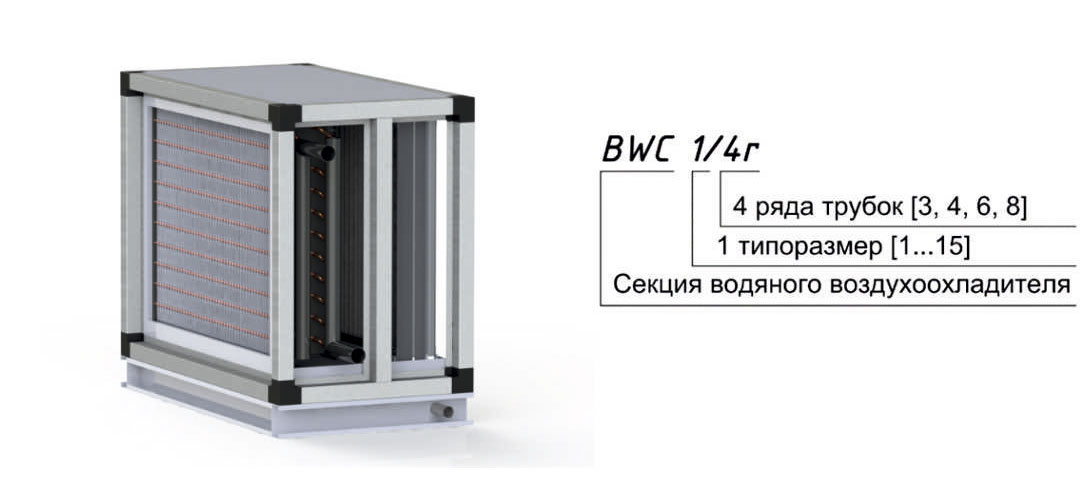 Секция водяного воздухоохладителя для центрального кондиционера